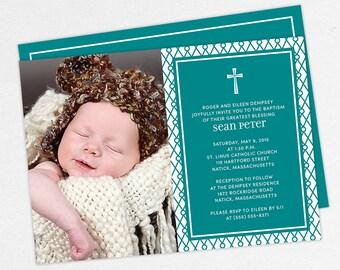 Photo Baptism Invitation, Christening Invitation, Boy Baptism Invitation, Printable Baptism Invitation, Invitation PDF, Modern, Teal, Sean