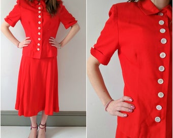 Vintage Adele Simpson red two piece skirt and jacket suit, xs small