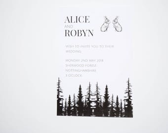 Forest themed wedding invite