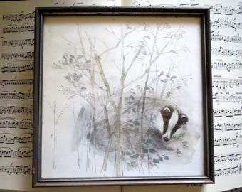 Badger-image Printing in frame, old picture-Attic fund, lithography-Print after * Mads stage *, Danish painter to 1970 vintage picture print