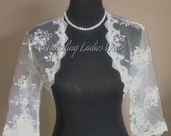 Embroidered Floral Lace Bolero 3/4 Sleeves / Shrug / Wedding Cropped Jacket / Wrap / Shawl - UK 6-28 - Colours available : Ivory, White