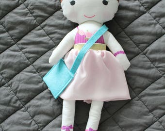 Ballerina Doll tutu bag rag doll stuffed doll young girl birthday gift brown hair pink stripe leotard pink tutu skirt cloth doll fabric