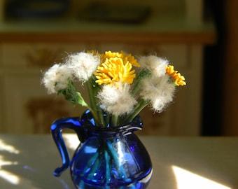 Dollhouse flowers, Miniature 1:12, Dandelions, Rustic,Provence, Country Decor,Vintage Style,Miniature Flower Bouquet