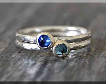 Set of 2 Sterling Silver Birthstone Stacking Rings, Swarovski Gem Ring, Mother's Ring Stack, Swarovski Stacking Ring, Mother's Day Gift