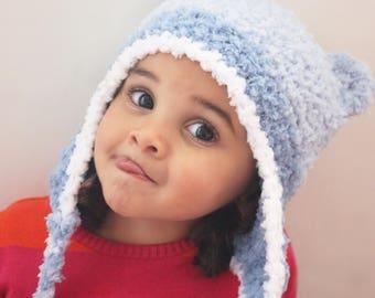 5T to Teen Kids Earflap Bear Hat Crochet, Children.s Bear Earflap Hat. Lagoon, Light Blue White Earflap Bear Beanie  Kids