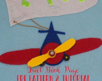 Quiet Book Cover Page Pattern - Airplane Quiet Book Pattern - Personalize Felt Toy Tutorial - Felt Busy Book Tutorial - Quiet Book Page PDF