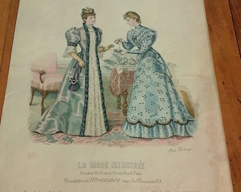 """french antique engraving. Old fashion plate. """"Fashion illustrated"""" PARIS. 1893 issue 18, signed Anais Coudouze. Hand painted."""