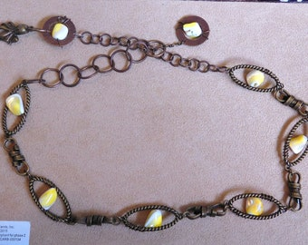Yellow Mother of Pearl & Octopus Necklace