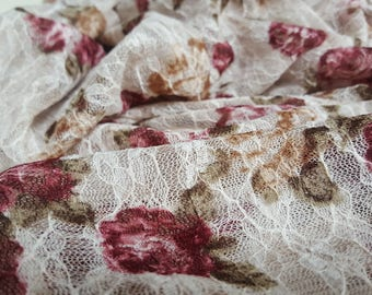 Floral Stretch Lace in Cream with Red Roses - Vintage Style Fabric - Romantic Floral Print - Sewing, Dressmaking