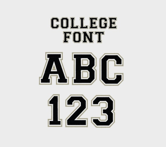 College Outline Embroidery Machine Font 1/2 3/4