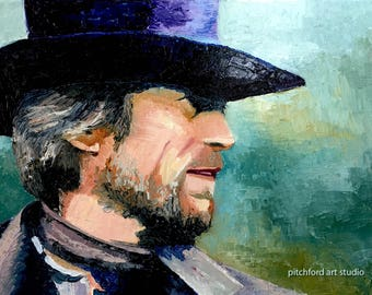 Original Painting of Clint Eastwood as the character in the movie Pale Rider, cowboy hat, Western Movie, Oil Painting