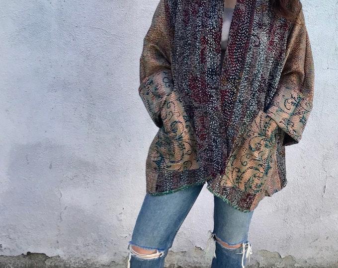 Plus size designer silk kantha kimono/jacket in super sophisticated color combo