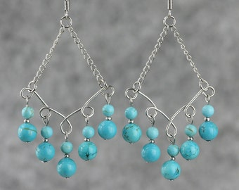 Turquoise dangling chandelier Earrings Bridesmaids gifts Free US Shipping handmade Anni Designs