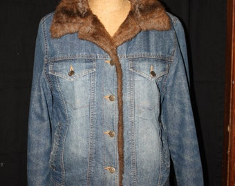 Faux Fur Lined Denim Jacket