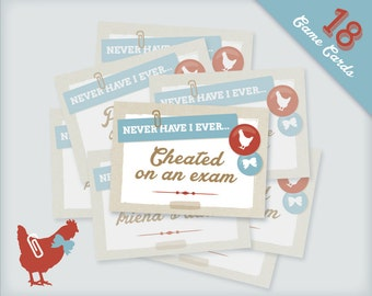 "Vintage Chicks & Bows printable ""I Have Never"" Game Cards for Hen Party or Hen Night"