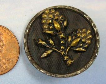 Antique Button Victorian Floral Button Picture Button Large Brass Collectable Button 292