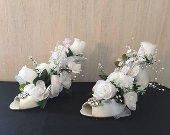 Silk Floral Arrangement In Wedding Shoes