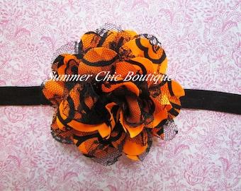 Halloween Orange and Black Baby Headband, Infant Headband, Newborn Headband - Orange Headband  Frayed Chiffon and Lace Flower Headband
