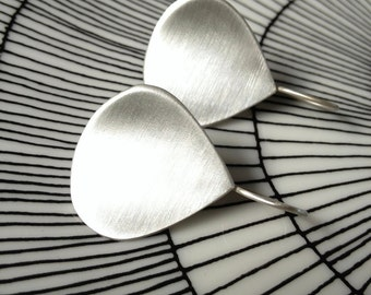 Sterling Silver Earrings with Organic Curved Teardrop