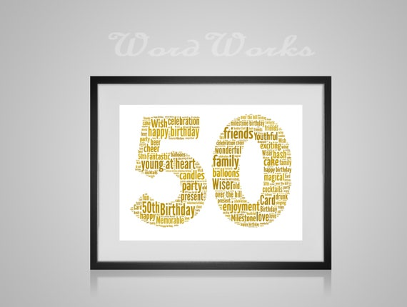 Personalised 50th Birthday Gift Number Age Word Art Any age