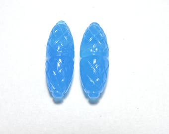 2 Pieces Gorgeous Blue Chalcedony Hand Carved Rice Drops Shaped Loose Gemstone Size 22X8 MM