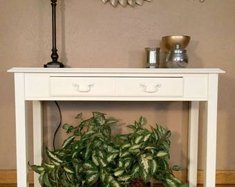Vintage Hand Painted Lane Furniture Entryway Console Table Shabby Chic  Farmhouse Writing Desk