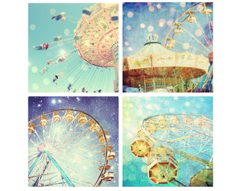 35% off - Carnival Photography Set - nursery decor - kids room art - carnival art - yellow aqua teal wall art - four prints