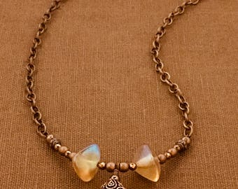 Czech Glass Necklace with Copper Pendant