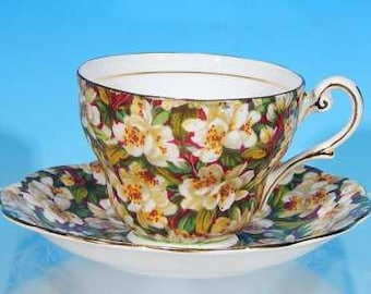 "Vintage ROYAL STANDARD ""Peach Tree"" Bone China Chintz Tea Cup & Saucer Set England Discontinued"
