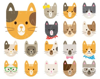 Cat Clipart Cat Clip Art Cute Cat Clipart Cat Face Clipart Cat Head Clipart Calico Cat Clipart Kitty Clipart Digital Instant Download