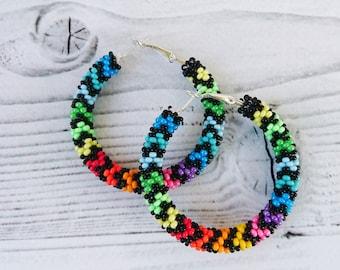 Colorful beaded hoop earrings, Big colorful earrings for women, African earrings, Ethnic Beadwork jewelry, Seed bead hoops, Peyote earrings