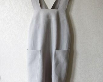 Linen Square-Cross Apron/ No-ties Apron / Japanese Apron/ Light gray apron/Gift for women