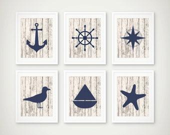 Nautical Art Print Set of 6 - Nautical Decor - Nautical Art  - Set of 6 Prints