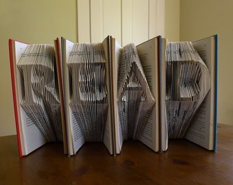 Book Lovers - Altered Book - READ Custom Folded Books - Handmade Gift - Decorative Arts - Origami