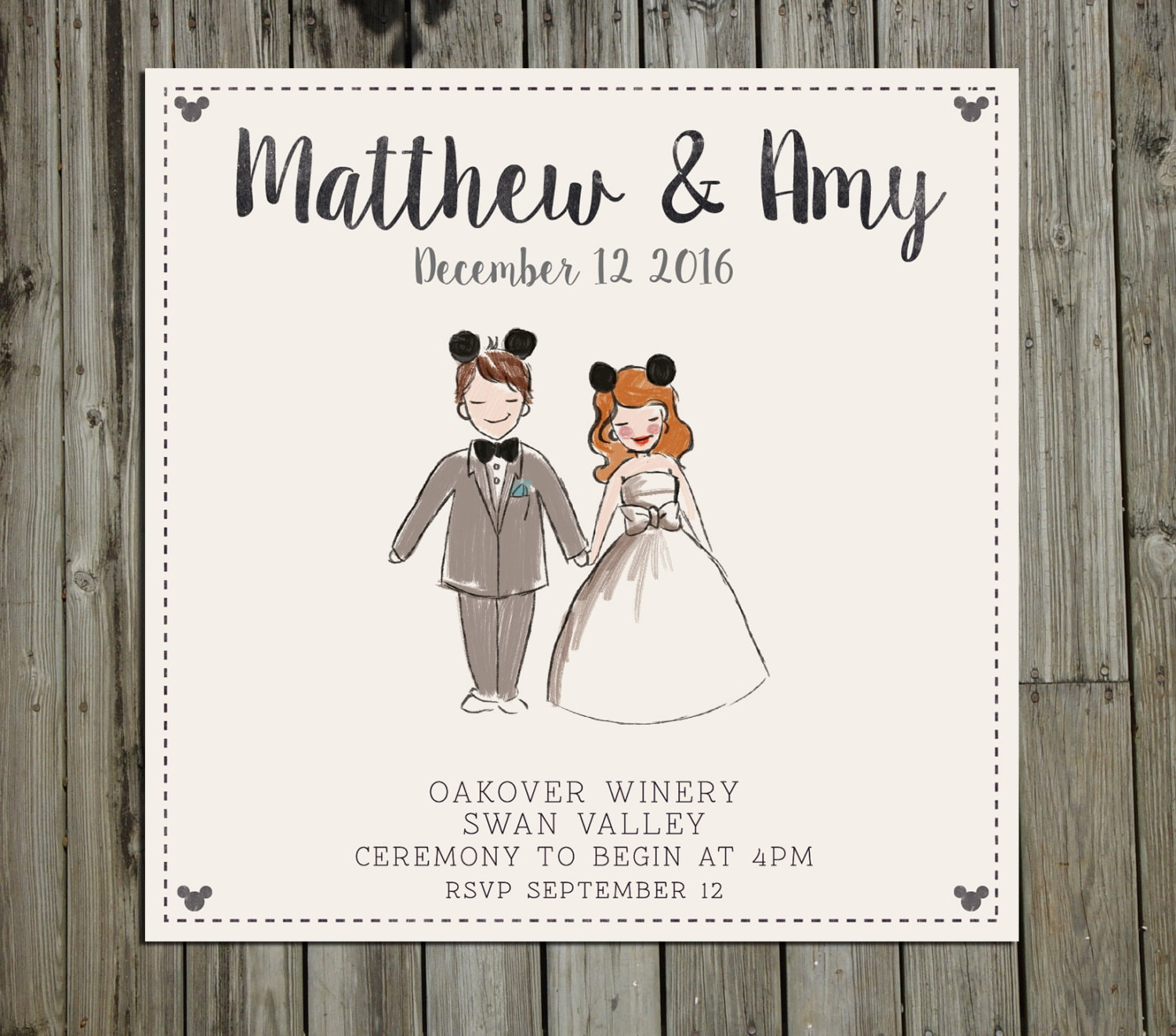 Custom Painted Disney Couple portrait Wedding Invitation
