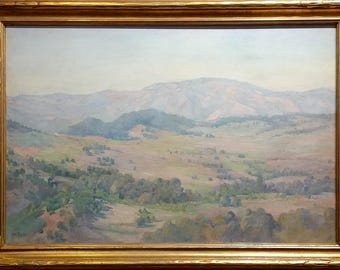 Charles Fries -The Land of the Oaks-California Plein Air Oil Painting c1918