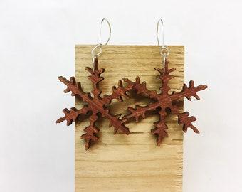 Wooden Snowflake Cutout Earrings