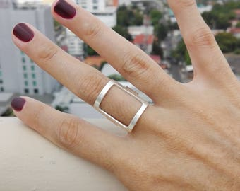 Square in silver adjustable ring, square silver adjustable ring, square silver ring