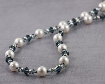 Winter Wedding, White Pearl Necklace, Dark Blue Crystal Jewelry, Blue and White Bridal Jewelry, Sterling Clasp