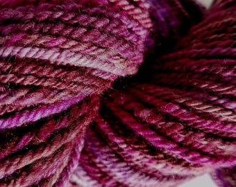 "Hand Spun Yarn, ""Sabiduria"" Nube Merino roving--Raspberry, purple, brown, pink, cream variegated. 3ply worsted--#116"