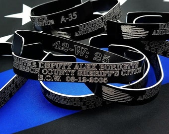 Custom Memorial Bracelets, Laser Engraved, Police Officer, Military, End of Watch, KIA, National Law Enforcement Memorial Wall