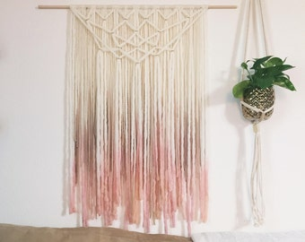 Blush and Gold Yarn Wallhanging, Bohemian tapestry, dip-dyed fiber art