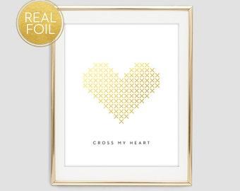 Gold Foil Cross Stitch Heart Wall Print, Foil Heart Print, Cross My Heart Wall Print, Cross Stitch Heart Print, Gold Wall Decor, F4