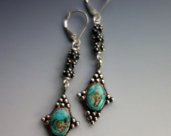 Turquoise Old Silver Bead Earrings