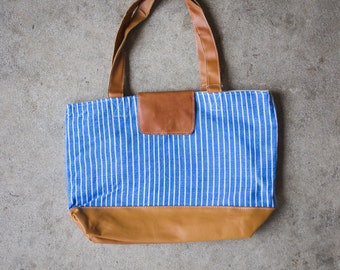 Blue Pinstripe Day Bag