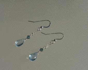 Oceans of Love topaz earrings. Beautiful blue topaz briolettes, Swarovski crystals, and sterling silver.
