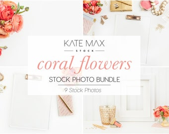 Coral Flowers / Styled Stock Photos / 9 KateMaxStock Flower Branding Images for Your Business