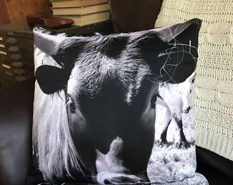 Cow Pillow / Throw Pillow / Farm Pillow / Black and White / Cow Cushion / Country Living / Country Pillow / Farmhouse Decor / Live This Way