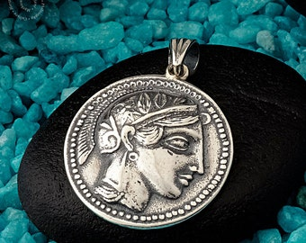 Goddess Athena - Owl Silver Pendant, Double sided Pendant, Sterling Silver Pendant, Greek Jewelry, Greek Symbols,