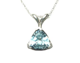 Blue Topaz sterling Silver pendant with chain